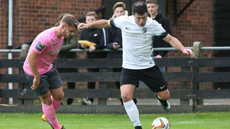 John Frendo takes on a defender. Picture: Danny Loo