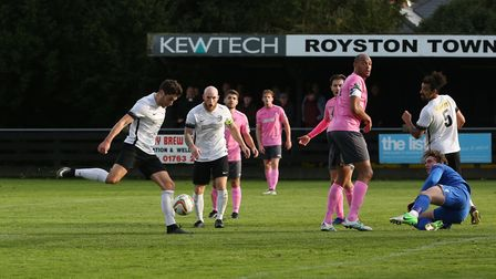 James Potton shoots after the ball fell to him in the box. Picture: Danny Loo