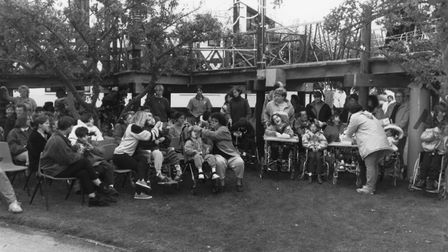 Meldreth Manor schoolchildren and staff after the school opened in 1967.