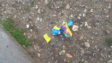 Discarded fireworks at the scene.