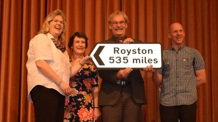 A new road sign directing visitors to Royston was recently presented to officials in the German twin