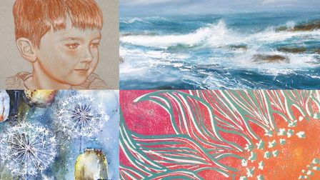 A composite image of four artworks to be included in the exhibition