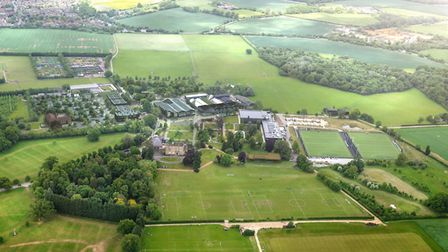 An artist's impression showing an aerial view of the full new Oaklands College development.