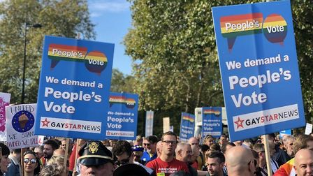 LGBT+ for a People's Vote campaigners. Photograph: Contributed.