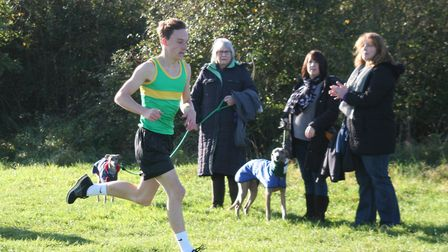 Hunts AC runner Angus Lawrence on his way to victory in the junior race at the second round of the F