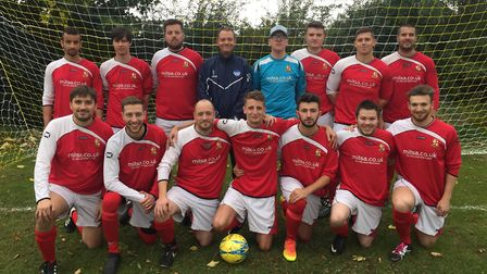 St Ives Rangers Reserves, pictured ahead of a recent game, are back row, left to right, Darrel Barre