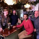 Richard Osmond, George Fredenham, Sean Fletcher and BBC cameraman at The Foragers for BBC's Countryf