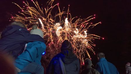 Families came out to watch the fireworks at Icknield Walk First School in Royston. Picture: David Ha