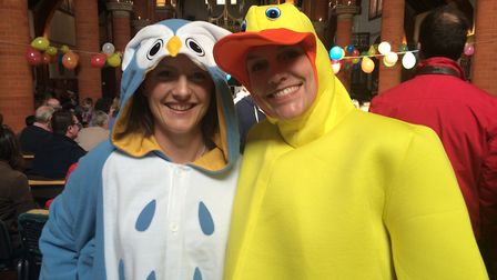 SASO musicians Hattie Webster (left) and Eike Davies in fancy dress at a previous children''s concer