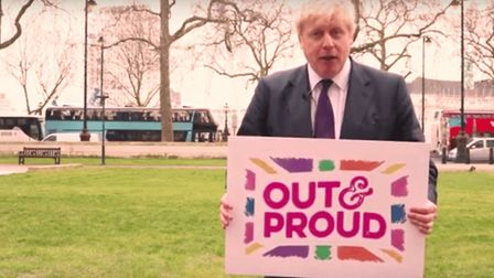 Boris Johnson claimed he was 'out and proud'. Photograph: Twitter.