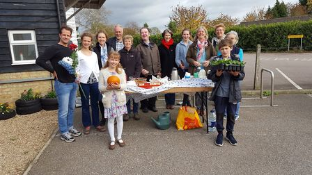 A 'thank you' gathering took place at Shepreth station with volunteers representing Meldreth, Shepre