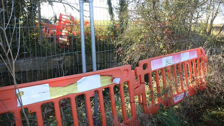 The location of the closed footbridge on the B1039 outside Chrishall which is forcing walkers onto t