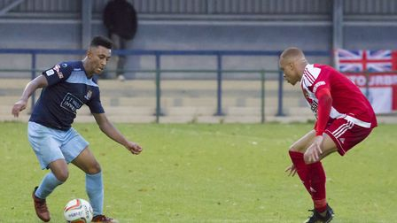 Dion Sembie-Ferris put St Neots Town ahead in their FA Trophy tie. Picture: CLAIRE HOWES