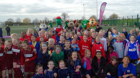 Players and mascots enjoyed the FA Girls Football Festival fun. Picture: HUNTS FA