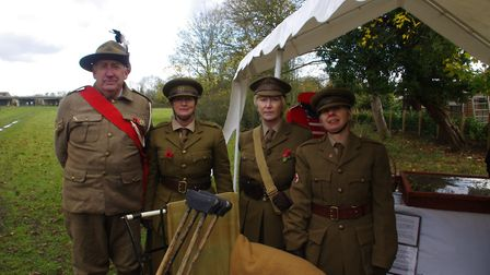 REMEMBRANCE: Members of the History Revisited reenactment group with a replica field hospital at the