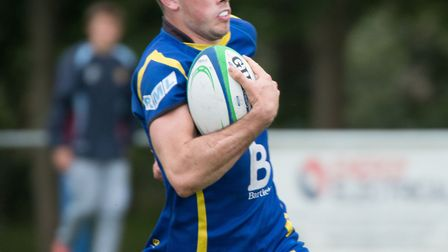 Ollie Raine celebrated a hat-trick of tries for St Ives. Picture: PAUL COX