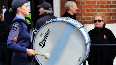 A drummer girl parades in Royston Remembrance Sunday march. Picture: Clive Porter