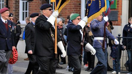 The flag bearers old and new celebrate in Royston's Sunday Remembrance Parade. Picture: Clive Porter