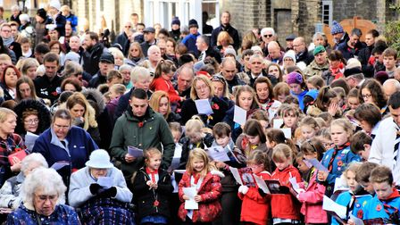 The crowds came out for the 2017 Royston Remembrance service in the town centre. Picture: Clive Port