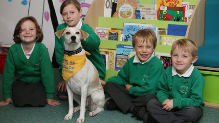Sauncey Wood Primary School pupils (L-R) Bella, six, Mikayla, nine, Morten, five and Toby, four with