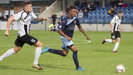 Dion Sembie-Ferris scored for St Neots Town in their FA Trophy exit. Picture: CLAIRE HOWES