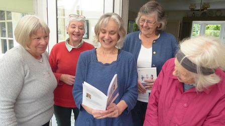 Elisabeth Goodman with members of the her French conversation group. Picture: Royston U3A