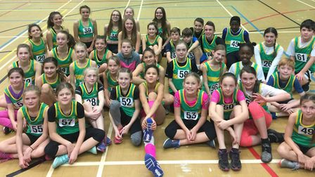 Hunts AC youngsters who took part in the Cambridgeshire Sportshall event in Peterborough