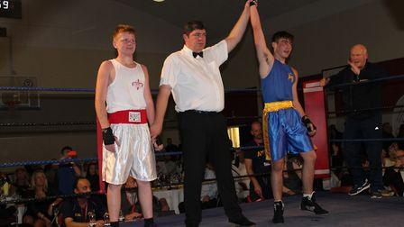 St Albans' Taylor McCarthy's arm is raised for his victory. Picture: HEATHER BROWNING