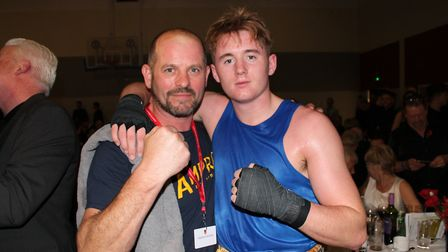 Trainer Mark Browning with Liam Murphy after his win. Picture: HEATHER BROWNING