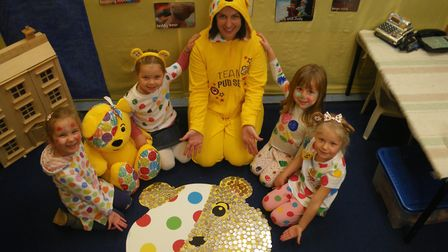 Children in Need at Crosshall Infants School, teacher Nicole Brace with Bella, Olivia, Faye and Lily