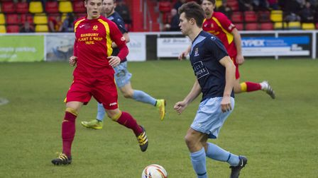 Goalscorer Dylan Williams on the ball for St Neots Town in their 1-1 draw at Banbury. Picture: CLAIR