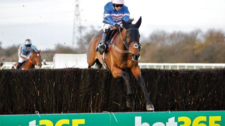Cyrname, under jockey Sean Bowen, on the way to victory at Huntingdon Racecourse. Picture: STEVE DAV