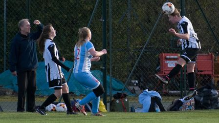 Georgia Stancombe uses her head as St Ives Town Ladies beat Cambridge University last Sunday. Pictur