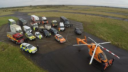 Members of Cambridgeshire's emergency services gathered at RAF Wyton for a road safety event. Pictur
