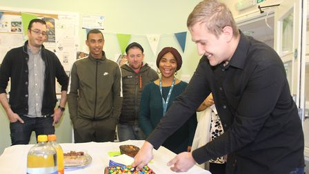 Cutting the cake at the Kent House 20th anniversary celebrations. Photo supplied by Hightown housing