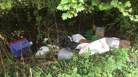 Several incidents of fly-tipping have been reported in River Lane, Brampton. Picture: HDC