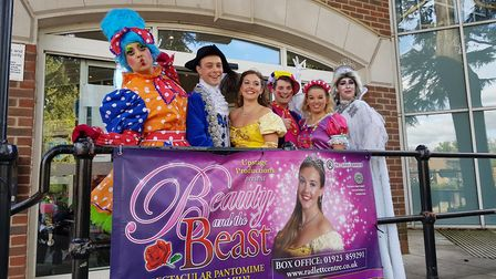 The cast of The Radlett Centre's 2017 pantomime Beauty and the Beast