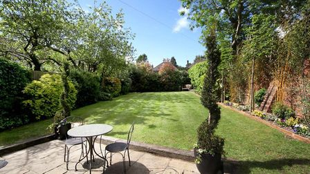 The rear garden is mostly laid to lawn