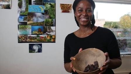 Loriann Paris with some dark chocolate on her Dominica stall at the Bernards Heath Infant and Nurser