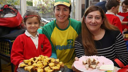 Brazilian Isabella, five and Ligia Curley and Argentinian Veronica Galdieri on their South American