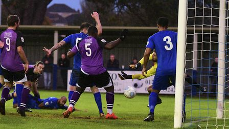 Tom Bender gets Saints level for the second time. Picture: BOB WALKLEY
