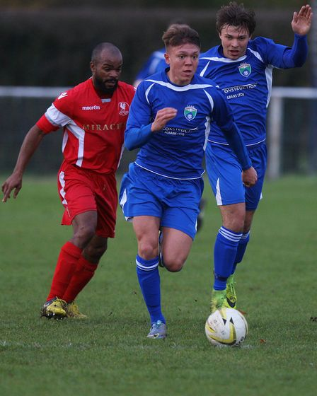 Lawrence Vaughan drives forward for London Colney.Picture: KARYN HADDON