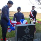 Sawston Air Training Corps at the unveiling of a war memorial at Fowlmere's Manor Farm, pictured alo