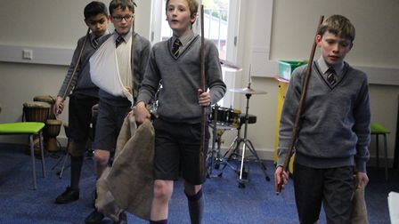 Aldwickbury School pupils rehearsing for the school play. Photo supplied by the school.