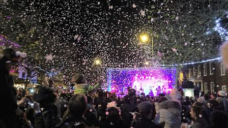 St Albans' Christmas lights being switched on last year. Photo supplied by St Albans council.