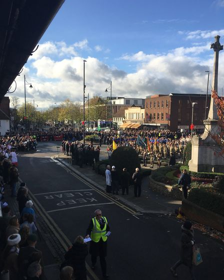 Remembrance Sunday service outside St Peter's Church