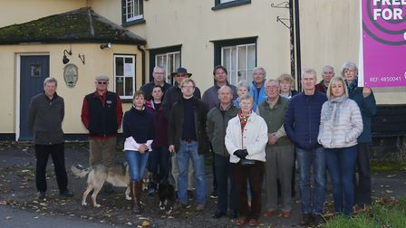 The Three Tuns Community Group and supporters outside the closed down pub. Picture: Tyler Bilton