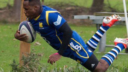 Albiee Tayedzerwa scores a try during St Ives' victory in the Midlands Senior Vase. Picture: PAUL CO