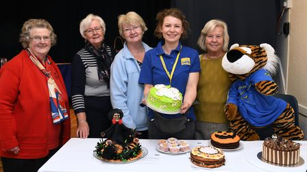Nora Longland, Ann Campbell, Heather Jones, Noamh Campbell, and Jenny Lloyd at the bake off, in St I