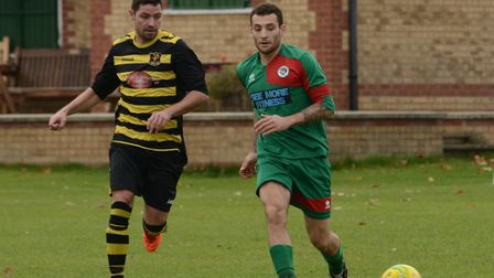 Dan Gentile (right) scored twice for Huntingdon United in their Percy Oldham Memorial Cup success.